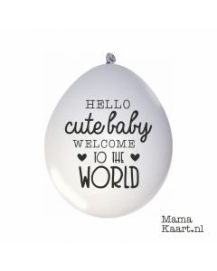 Geboorte ballonnen 'Hello Cute Baby Welcome To The World'